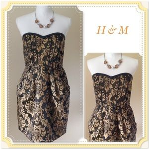 💠 H&M Met Gold & Brown Jacquard Strapless Dress